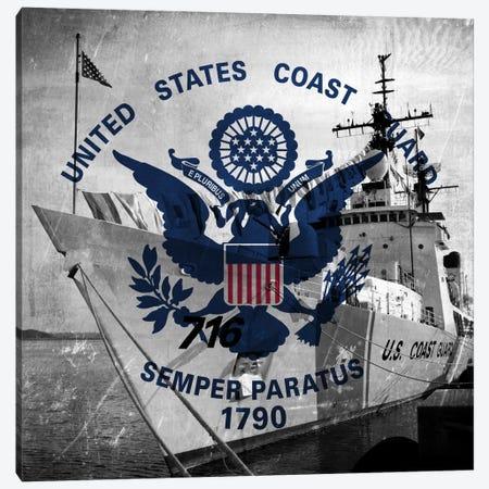 U.S. Coast Guard Flag (USCGC Dallas Background) II Canvas Print #FLG40} by iCanvas Canvas Art