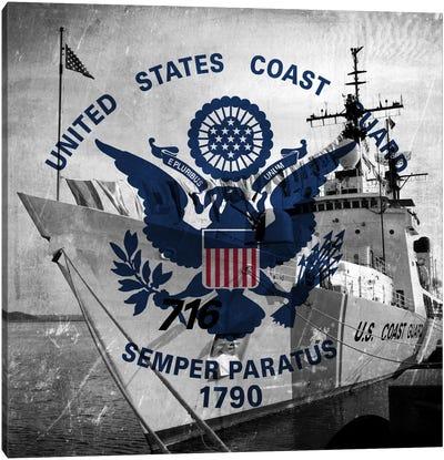U.S. Coast Guard Flag (USCGC Dallas Background) II Canvas Art Print
