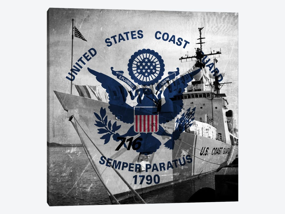 U.S. Coast Guard Flag (USCGC Dallas Background) II by iCanvas 1-piece Canvas Art