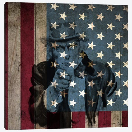 USA Flag In Zoom (James Montgomery Flagg's Uncle Sam Background) Canvas Print #FLG416} by iCanvas Canvas Artwork