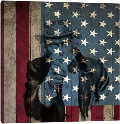 USA Flag In Zoom (James Montgomery Flagg's Uncle Sam Background) Canvas Art Print