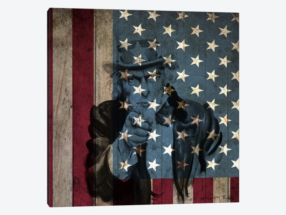 USA Flag In Zoom (James Montgomery Flagg's Uncle Sam Background) by iCanvas 1-piece Canvas Art