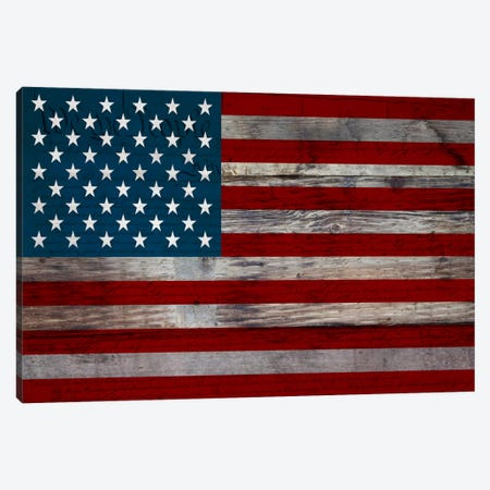 USA Flag on Wood Boards (U.S. Constitution Background) I Canvas Print #FLG418} by iCanvas Art Print