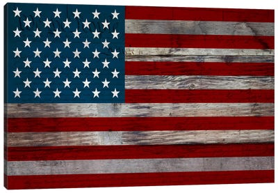 US Constitution - American Flag, Wood Boards Canvas Art Print