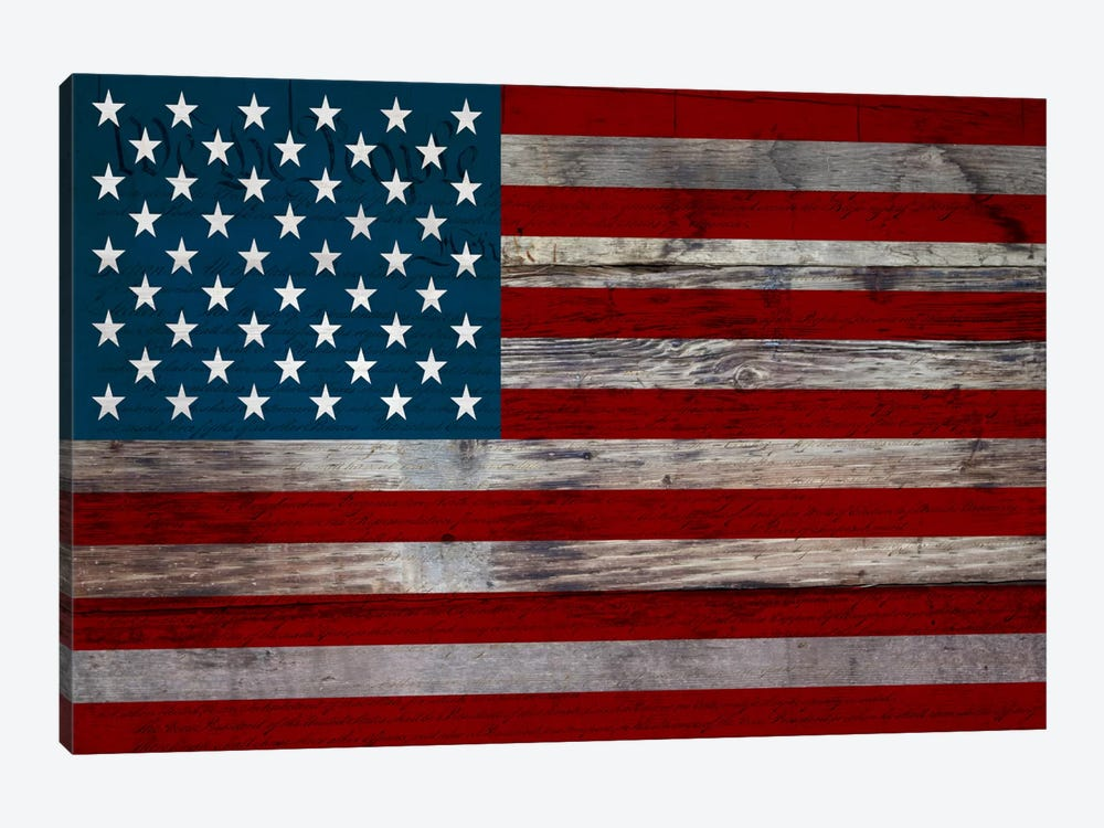 US Constitution - American Flag, Wood Boards by iCanvas 1-piece Canvas Art