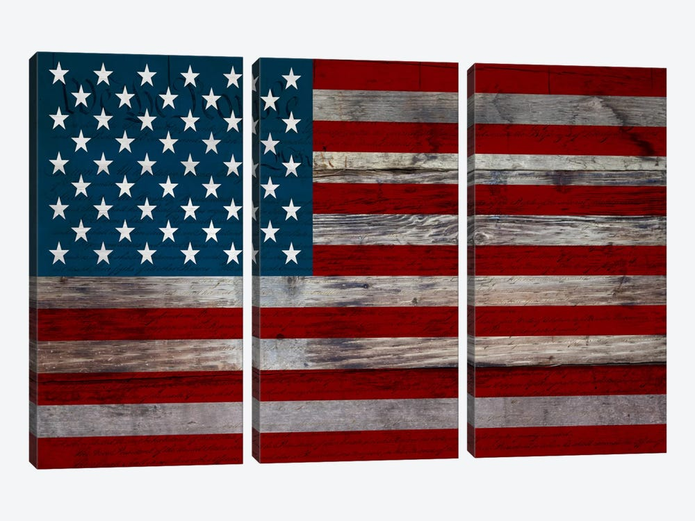 US Constitution - American Flag, Wood Boards by iCanvas 3-piece Canvas Artwork