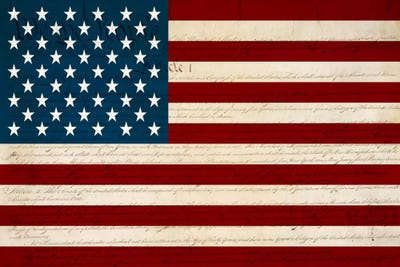 Usa Flag U S Constitution Background Canvas Wall Art