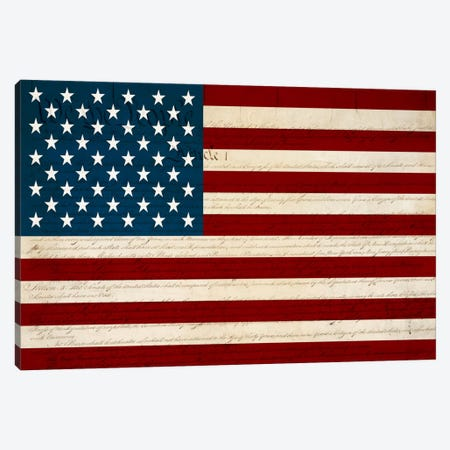 USA Flag (U.S. Constitution Background) Canvas Print #FLG419} by iCanvas Art Print