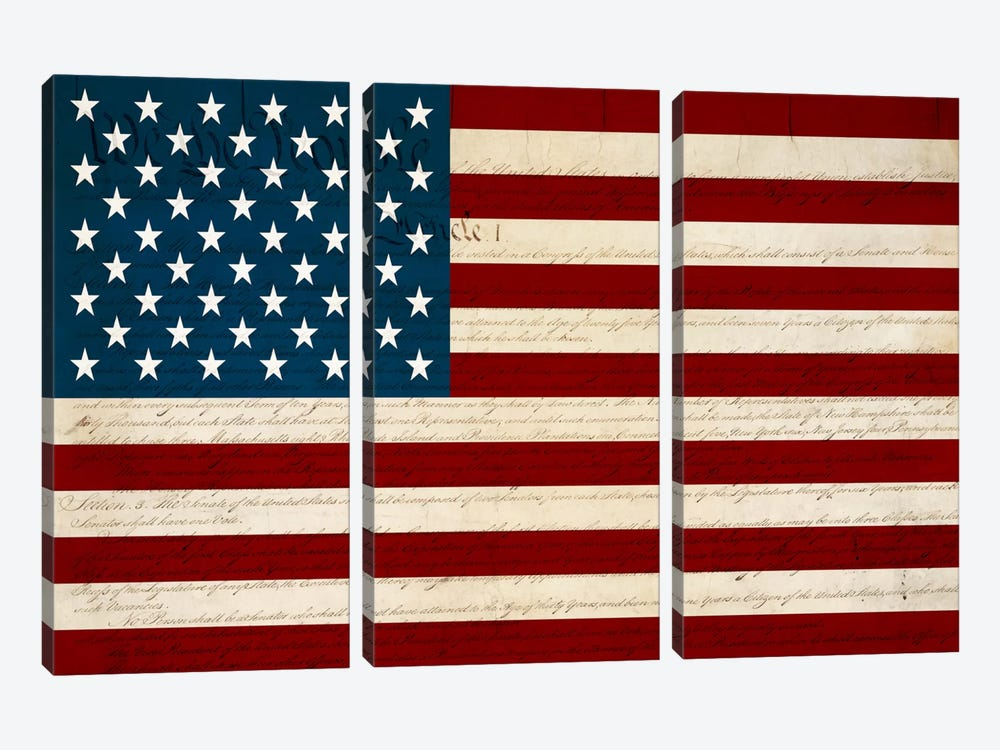 USA Flag (U.S. Constitution Background) 3-piece Canvas Art Print