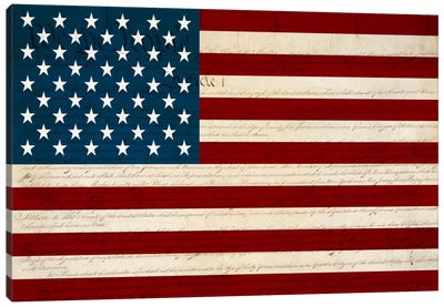 USA Flag (U.S. Constitution Background) Canvas Art Print