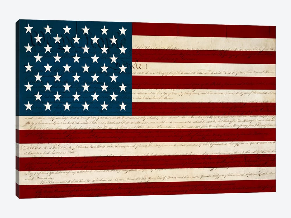 USA Flag (U.S. Constitution Background) by iCanvas 1-piece Art Print