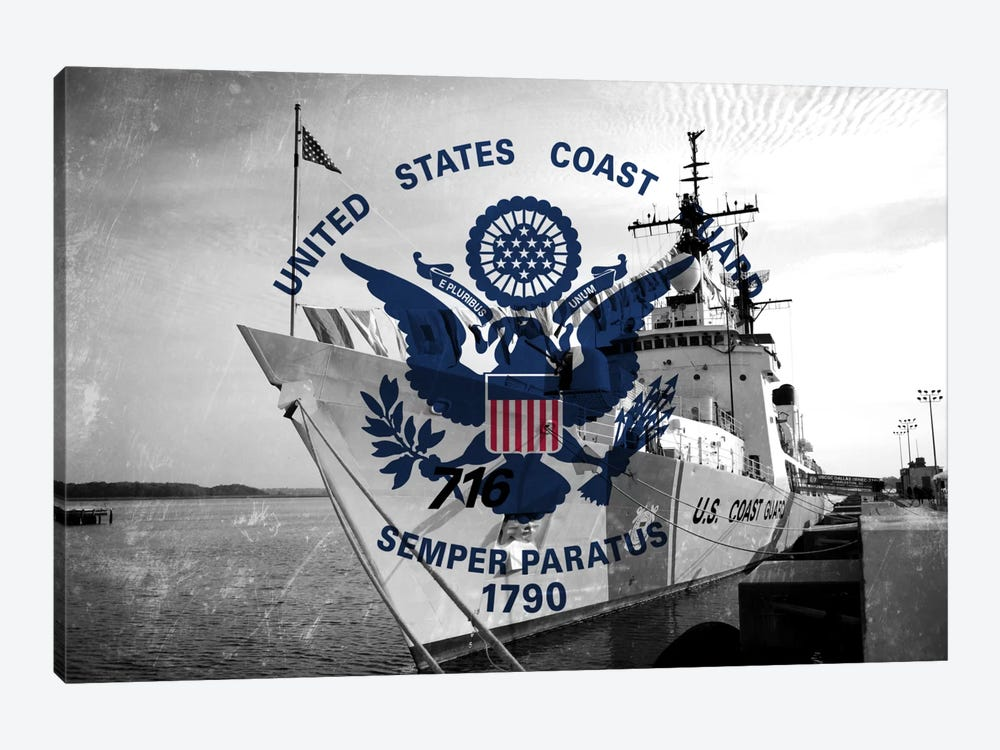"US Coast Guard ""Grungy"" Flag (USCGC Dallas Background) by iCanvas 1-piece Art Print"