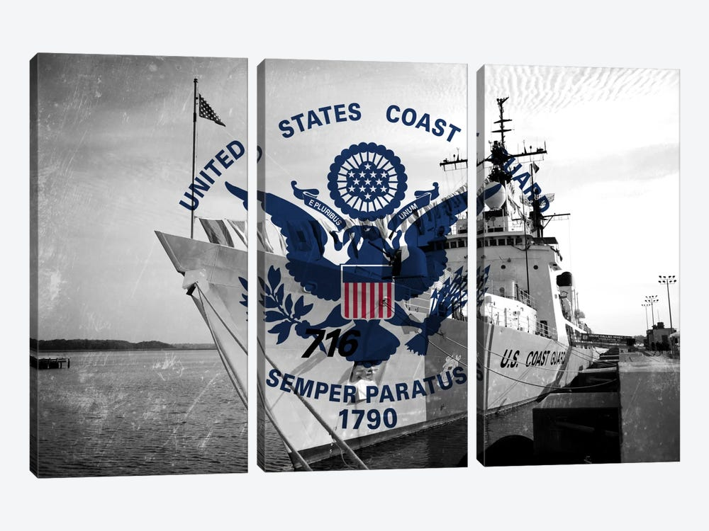 "US Coast Guard ""Grungy"" Flag (USCGC Dallas Background) by iCanvas 3-piece Canvas Art Print"