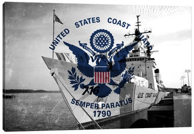 U.S. Coast Guard Flag (USCGC Dallas Background) III Canvas Art Print