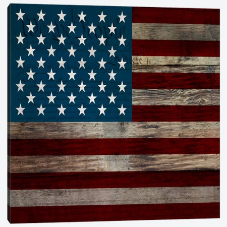 USA Flag on Wood Boards (U.S. Constitution Background) II Canvas Print #FLG420} by iCanvas Canvas Artwork