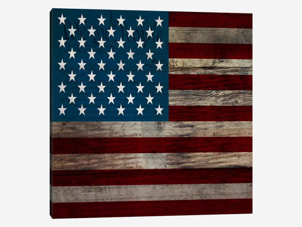 USA Flag on Wood Boards (U.S. Constitution Background) II by iCanvas 1-piece Canvas Art Print