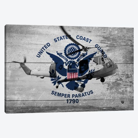 U.S. Coast Guard Flag (Sikorsky HH-52A Sea Guard Background) Canvas Print #FLG42} by iCanvas Canvas Artwork