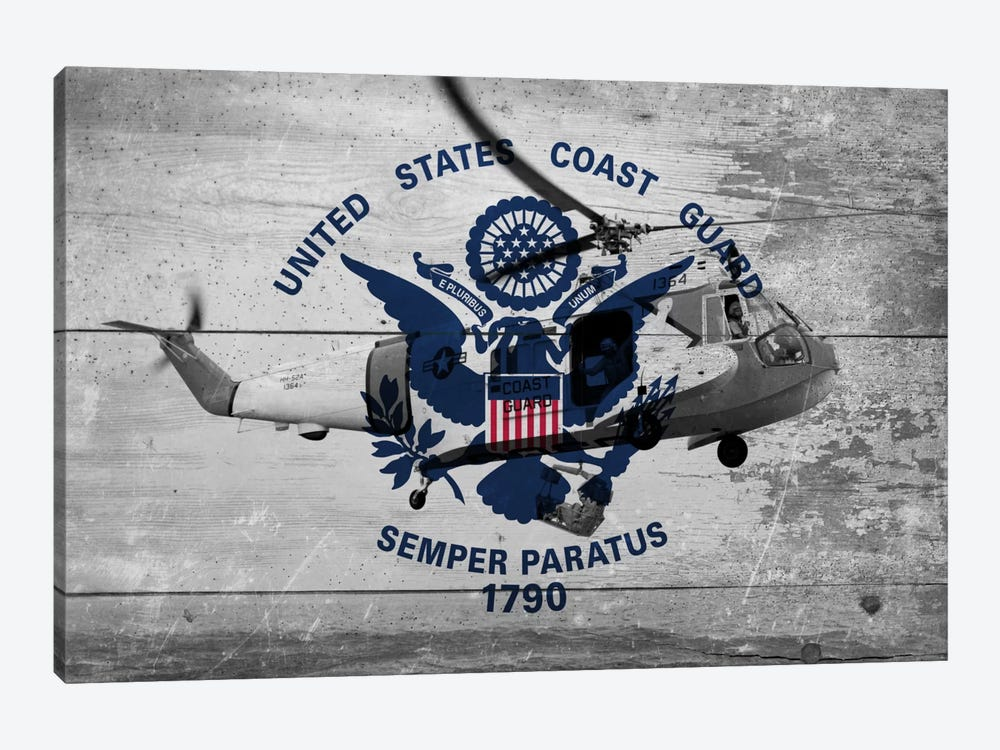 U.S. Coast Guard Flag (Sikorsky HH-52A Sea Guard Background) by iCanvas 1-piece Canvas Artwork