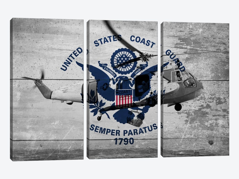U.S. Coast Guard Flag (Sikorsky HH-52A Sea Guard Background) by iCanvas 3-piece Canvas Art