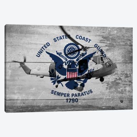 U.S. Coast Guard Flag (Sikorsky HH-52A Sea Guard Background) Canvas Print #FLG42} by iCanvas Canvas Artwork