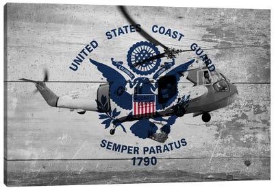 U.S. Coast Guard Flag (Sikorsky HH-52A Sea Guard Background) Canvas Art Print