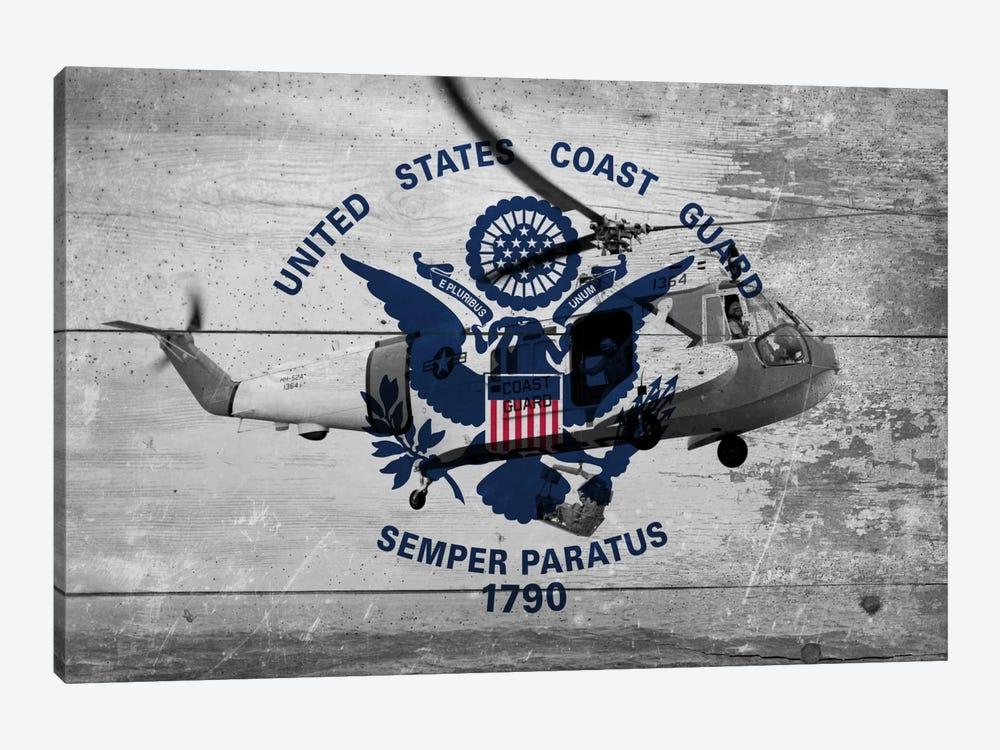 U.S. Coast Guard Flag (Sikorsky HH-52A Sea Guard Background) by iCanvas 1-piece Canvas Artwork