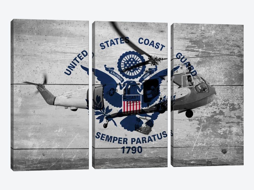 U.S. Coast Guard Flag (Sikorsky HH-52A Sea Guard Background) by iCanvas 3-piece Canvas Art