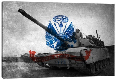 U.S. Army Flag (Abrams Tank Background) Canvas Art Print