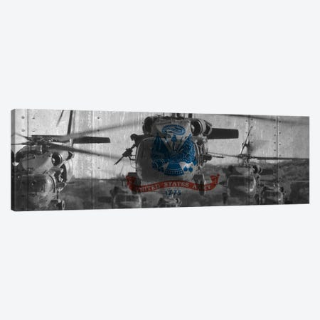 U.S. Army Riveted Metal Flag (Sikorsky Black Hawk Formation Background) Canvas Print #FLG431} by iCanvas Art Print
