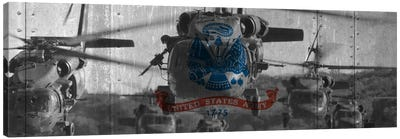 U.S. Army Riveted Metal Flag (Sikorsky Black Hawk Formation Background) Canvas Art Print