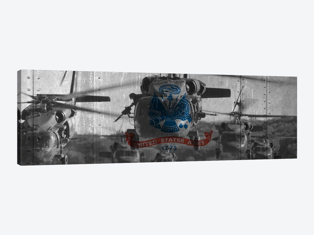 U.S. Army Riveted Metal Flag (Sikorsky Black Hawk Formation Background) by iCanvas 1-piece Canvas Art Print