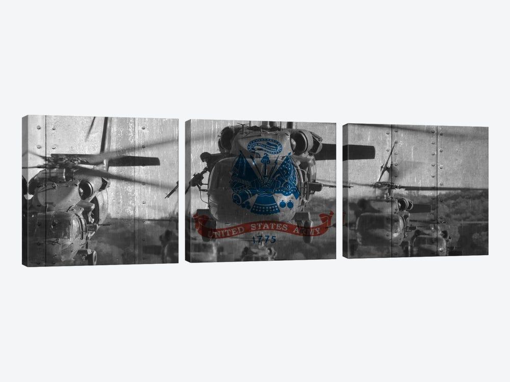 U.S. Army Riveted Metal Flag (Sikorsky Black Hawk Formation Background) by iCanvas 3-piece Art Print