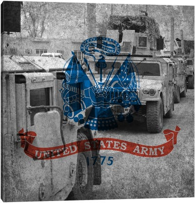U.S. Army Riveted Metal Flag (Armored Humvee Formation Background) Canvas Art Print