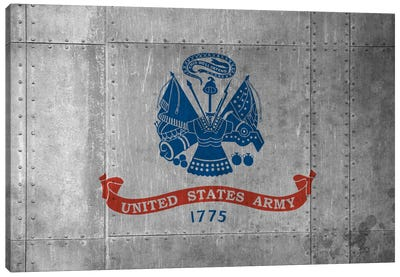 USA Army FlagMetal Rivet with Grunge Canvas Art Print