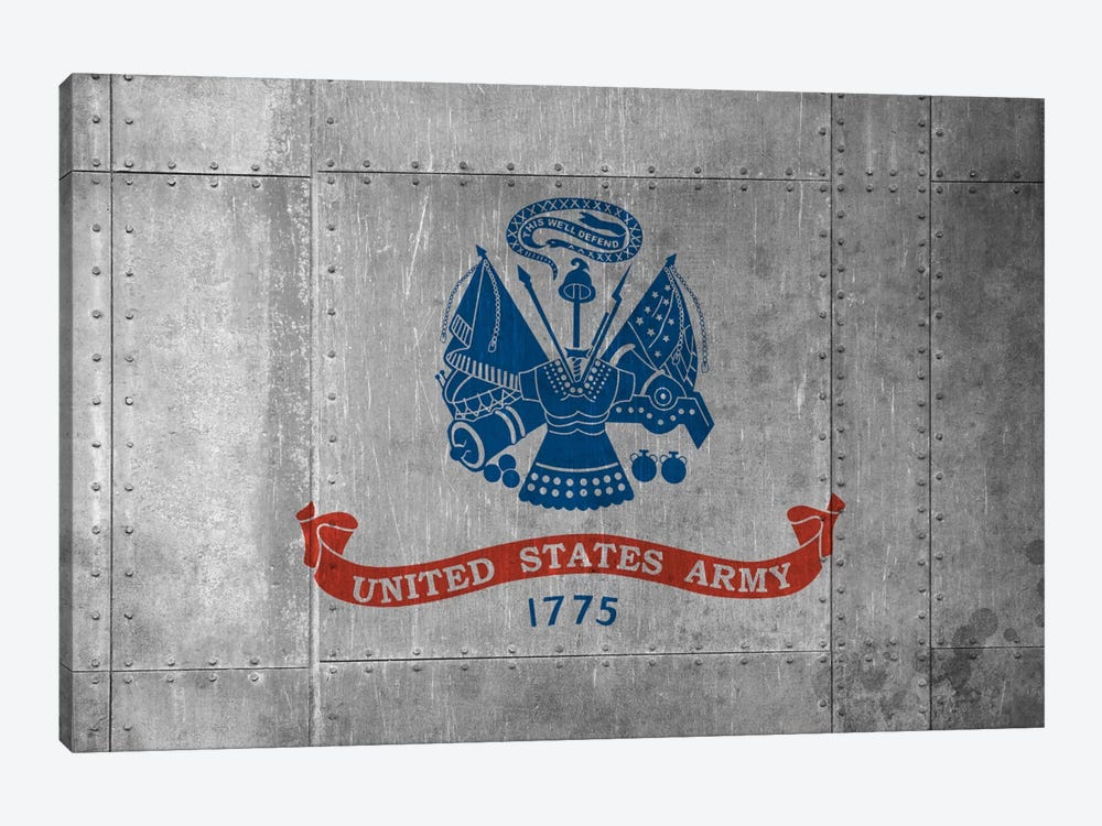 U.S. Army Flag (Riveted Metal Background) II by iCanvas 1-piece Canvas Art