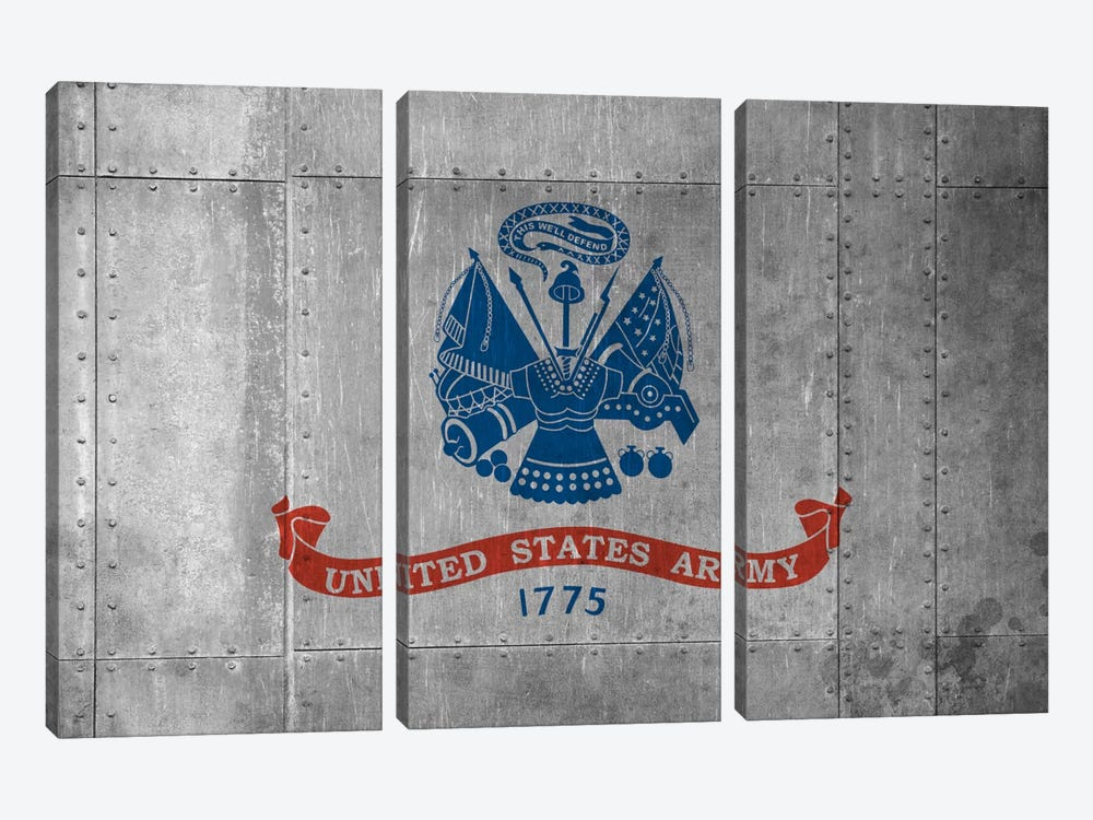 U.S. Army Flag (Riveted Metal Background) II by iCanvas 3-piece Canvas Artwork