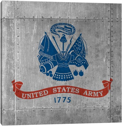 U.S. Army Flag (Riveted Metal Background) III Canvas Art Print