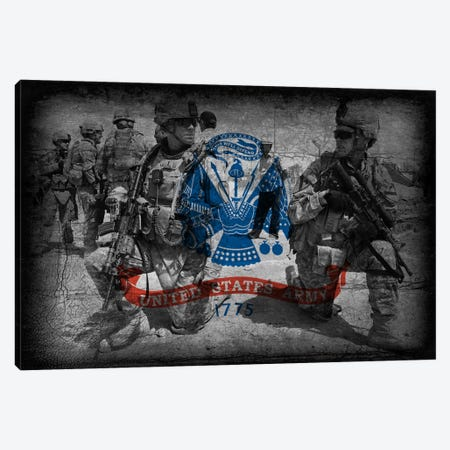 U.S. Army Flag (Brothers In Arms Background) Canvas Print #FLG436} by iCanvas Canvas Artwork