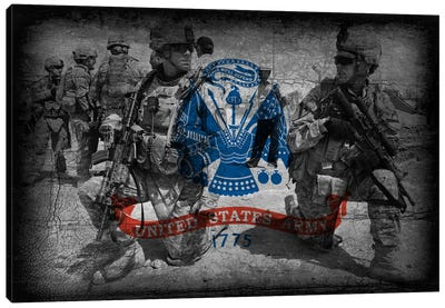 U.S. Army Flag (Brothers In Arms Background) Canvas Art Print