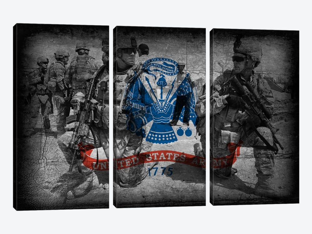 U.S. Army Flag (Brothers In Arms Background) by iCanvas 3-piece Canvas Wall Art