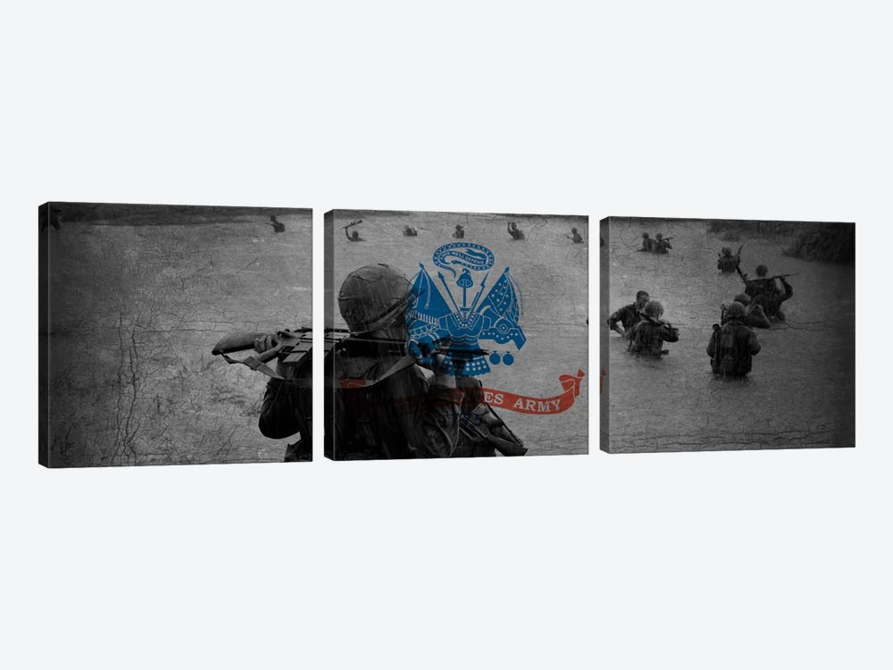 U.S. Army Flag (Unit On The Move Background) by iCanvas 3-piece Canvas Art