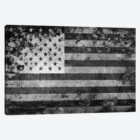 "USA ""Melting Film"" Flag in Black & White Canvas Print #FLG439} by iCanvas Canvas Art Print"