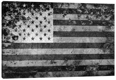 "USA ""Melting Film"" Flag in Black & White Canvas Art Print"