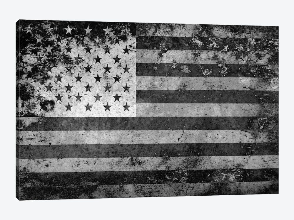 "USA ""Melting Film"" Flag in Black & White 1-piece Canvas Print"