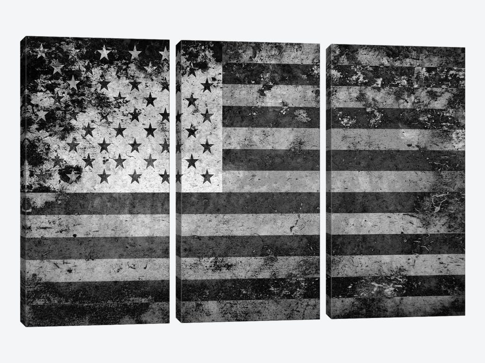 "USA ""Melting Film"" Flag in Black & White 3-piece Art Print"