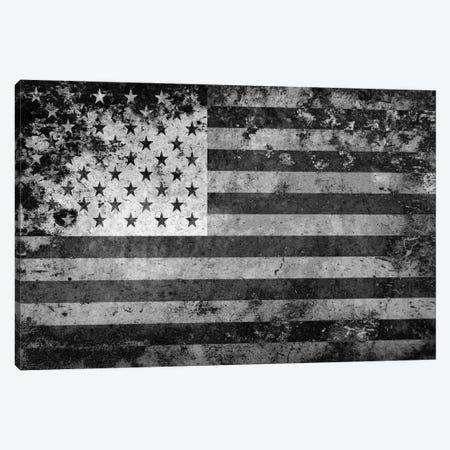 "USA ""Melting Film"" Flag in Black & White I Canvas Print #FLG439} by iCanvas Canvas Art Print"