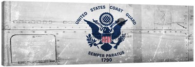 U.S. Coast Guard Flag (Ship Metal) Panoramic Canvas Print #FLG43