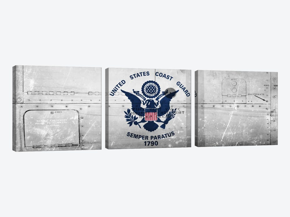 U.S. Coast Guard Flag (Ship Metal) Panoramic 3-piece Canvas Art Print