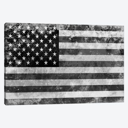 "USA ""Melting Film"" Flag in Black & White II Canvas Print #FLG440} by iCanvas Canvas Art"