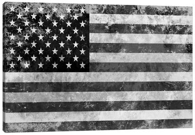 USA FlagGrunge Gray White Canvas Art Print